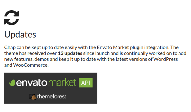 Theme updates - Chap can be kept up to date easily with the Envato Market plugin integration.