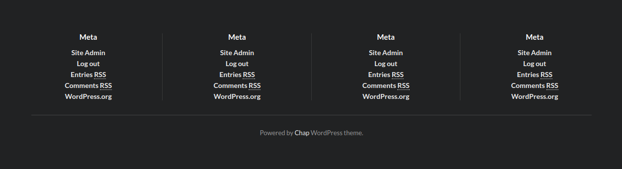 Normal Chap WordPress theme footer