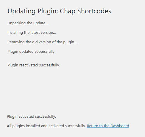 Chap Shortcodes plugin update complete