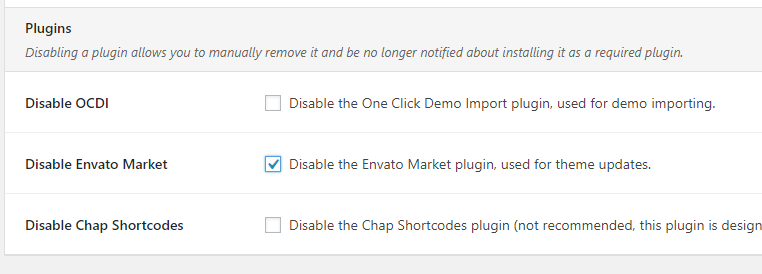 Disable Envato Market plugin
