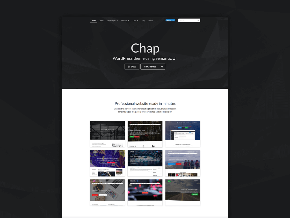 Chap – WordPress theme using Semantic UI CSS framework